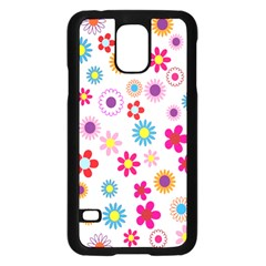 Colorful Floral Flowers Pattern Samsung Galaxy S5 Case (Black)