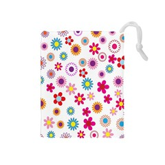 Colorful Floral Flowers Pattern Drawstring Pouches (Medium)