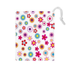 Colorful Floral Flowers Pattern Drawstring Pouches (Large)