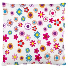 Colorful Floral Flowers Pattern Large Flano Cushion Case (Two Sides)