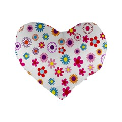 Colorful Floral Flowers Pattern Standard 16  Premium Flano Heart Shape Cushions