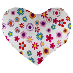 Colorful Floral Flowers Pattern Large 19  Premium Flano Heart Shape Cushions