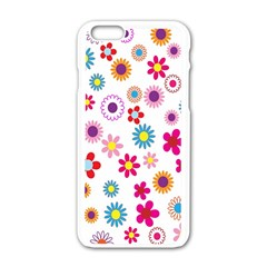 Colorful Floral Flowers Pattern Apple Iphone 6/6s White Enamel Case