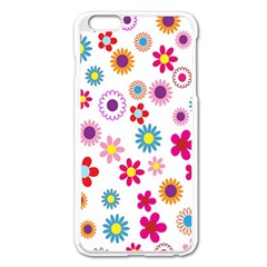 Colorful Floral Flowers Pattern Apple iPhone 6 Plus/6S Plus Enamel White Case