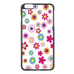 Colorful Floral Flowers Pattern Apple iPhone 6 Plus/6S Plus Black Enamel Case