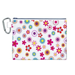 Colorful Floral Flowers Pattern Canvas Cosmetic Bag (L)