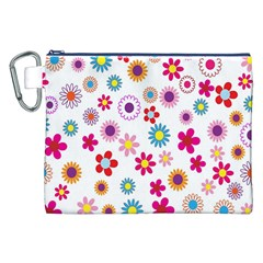 Colorful Floral Flowers Pattern Canvas Cosmetic Bag (XXL)