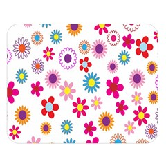Colorful Floral Flowers Pattern Double Sided Flano Blanket (large)