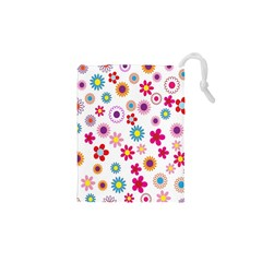 Colorful Floral Flowers Pattern Drawstring Pouches (XS)