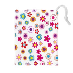 Colorful Floral Flowers Pattern Drawstring Pouches (Extra Large)