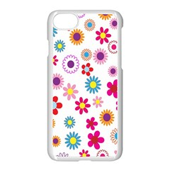 Colorful Floral Flowers Pattern Apple Iphone 7 Seamless Case (white)