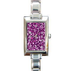 Chic Camouflage Colorful Background Rectangle Italian Charm Watch