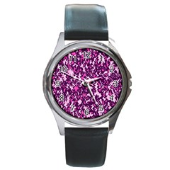 Chic Camouflage Colorful Background Round Metal Watch