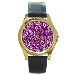 Chic Camouflage Colorful Background Round Gold Metal Watch