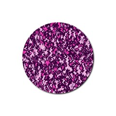 Chic Camouflage Colorful Background Rubber Round Coaster (4 Pack)