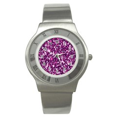 Chic Camouflage Colorful Background Stainless Steel Watch