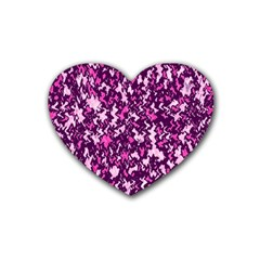 Chic Camouflage Colorful Background Rubber Coaster (heart)