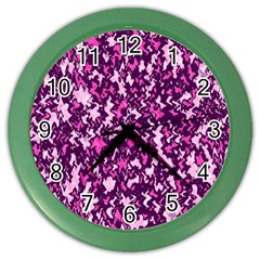 Chic Camouflage Colorful Background Color Wall Clocks