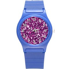 Chic Camouflage Colorful Background Round Plastic Sport Watch (S)
