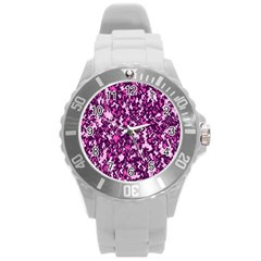 Chic Camouflage Colorful Background Round Plastic Sport Watch (L)