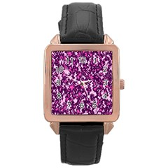 Chic Camouflage Colorful Background Rose Gold Leather Watch