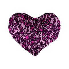 Chic Camouflage Colorful Background Standard 16  Premium Flano Heart Shape Cushions