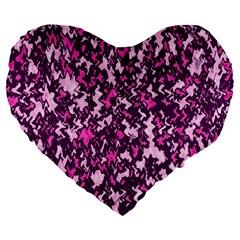 Chic Camouflage Colorful Background Large 19  Premium Flano Heart Shape Cushions