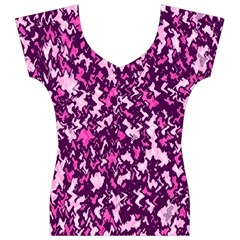 Chic Camouflage Colorful Background Women s V-Neck Cap Sleeve Top