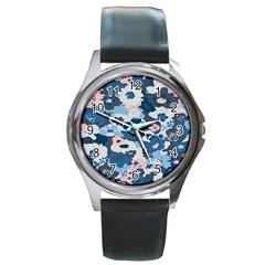 Fabric Wildflower Bluebird Round Metal Watch