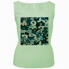 Fabric Wildflower Bluebird Women s Green Tank Top