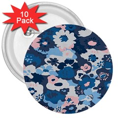 Fabric Wildflower Bluebird 3  Buttons (10 Pack)