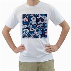 Fabric Wildflower Bluebird Men s T-Shirt (White) (Two Sided)