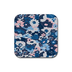 Fabric Wildflower Bluebird Rubber Coaster (Square)