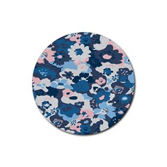 Fabric Wildflower Bluebird Rubber Coaster (round)