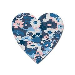 Fabric Wildflower Bluebird Heart Magnet