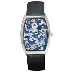 Fabric Wildflower Bluebird Barrel Style Metal Watch