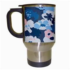 Fabric Wildflower Bluebird Travel Mugs (White)