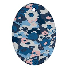 Fabric Wildflower Bluebird Oval Ornament (two Sides)