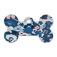 Fabric Wildflower Bluebird Dog Tag Bone (one Side)