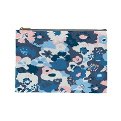 Fabric Wildflower Bluebird Cosmetic Bag (large)