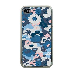 Fabric Wildflower Bluebird Apple Iphone 4 Case (clear)