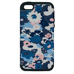 Fabric Wildflower Bluebird Apple Iphone 5 Hardshell Case (pc+silicone)