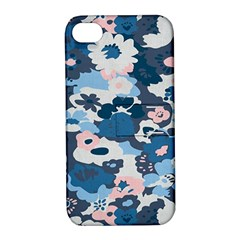 Fabric Wildflower Bluebird Apple iPhone 4/4S Hardshell Case with Stand