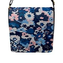 Fabric Wildflower Bluebird Flap Messenger Bag (L)