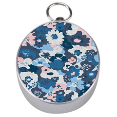 Fabric Wildflower Bluebird Silver Compasses