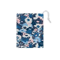 Fabric Wildflower Bluebird Drawstring Pouches (Small)