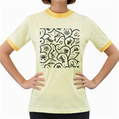 Fish Pattern Women s Fitted Ringer T-Shirts