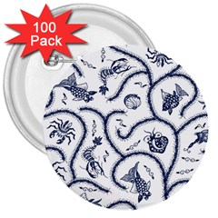 Fish Pattern 3  Buttons (100 pack)