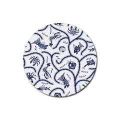 Fish Pattern Rubber Round Coaster (4 pack)