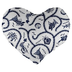 Fish Pattern Large 19  Premium Heart Shape Cushions